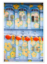 Póster Premium  Painted shutters in Chinatown, Singapor - Matteo Colombo