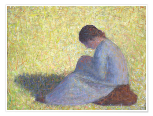 Póster Premium Peasant Woman Seated in the Grass