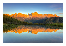 Póster Premium Alpenglow on the rose garden in the Dolomites in South Tyrol