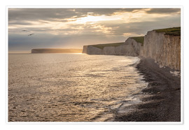 Póster Premium Chalk cliffs Seven Sisters in southern England
