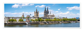 Póster Premium  Cologne Rheinufer with cathedral and town hall - Jan Christopher Becke