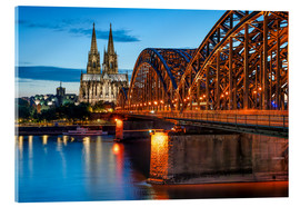 Quadro em acrílico  Cologne Cathedral and Hohenzollern Bridge at night - Jan Christopher Becke
