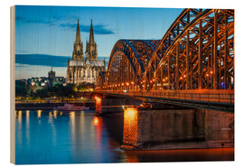 Quadro de madeira  Cologne Cathedral and Hohenzollern Bridge at night - Jan Christopher Becke