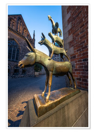 Póster Premium  The statue of the Bremen Town Musicians - Jan Christopher Becke