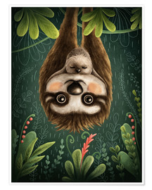 Póster Premium  Sloth mom with baby - Elena Schweitzer