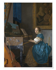 Póster Premium  young woman seated at a virginal - Jan Vermeer