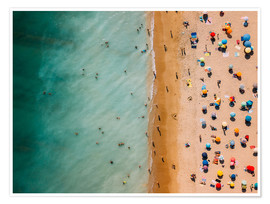 Póster Premium  Aerial view of people at the beach in Portugal - Radu Bercan