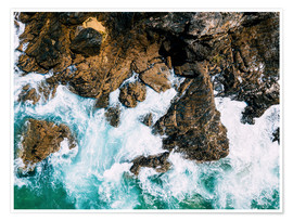 Póster Premium Dramatic Ocean Waves Crushing On Rocky Landscape