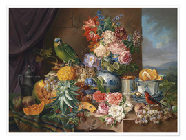 Póster Premium  Still life with fruits flowers and parrot - Joseph Schuster