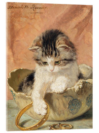 Quadro em acrílico  a kitten playing with jewelry - Henriette Ronner-Knip