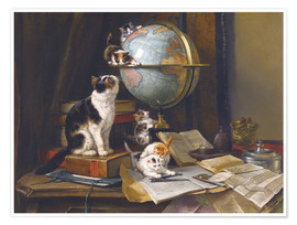 Póster Premium A cat with a globe