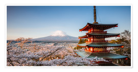 Póster Premium Pagoda and Mt. Fuji with cherry blossom, Japan