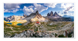 Póster Premium Panorama of Refuge Antonio Locatelli, South Tyrol
