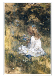 Póster Premium Daughter of Jacob Maris with flowers in the grass
