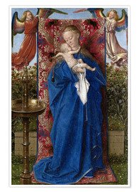 Póster Premium Madonna with child at the well