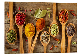 Quadro em acrílico  Colorful spices in wooden spoons - Elena Schweitzer