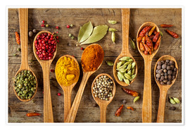 Póster Premium Colorful spices in wooden spoons