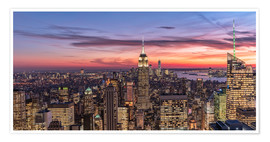 Póster Premium Evening mood over New York City