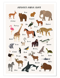 Póster Premium  Alphabet animal chart - Kidz Collection