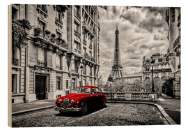 Quadro de madeira  Paris in black and white with red car - Art Couture