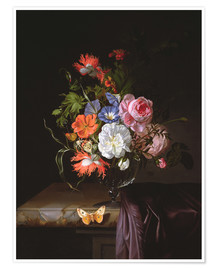 Póster Premium A Still Life of Flowers in a vase on a ledge